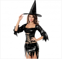 Black Vintage Womens Sexy Halloween Witch Costume
