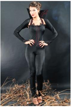 Black Vintage Womens Sexy Halloween Vampire Costume