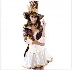 White Fancy Womens Magician Halloween Circus Costume