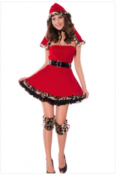Red Sweet Ladies Hoodied Christmas Santa Costume