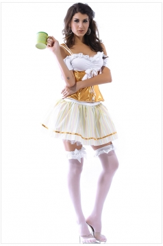 White Personalized Beer Girl Halloween Maid Costume