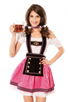 Pink Pretty Beer Girls Halloween Maid Costume