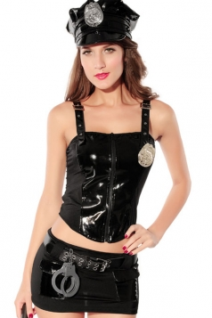 Black Exquisite Ladies Faux Leather Halloween Cop Costume