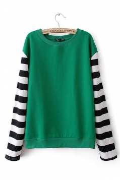 Green Womens Color Block Stripes Sleeves Sweatshirt