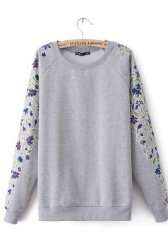 Gray Modest Ladies Floral Long Sleeves Sweatshirt