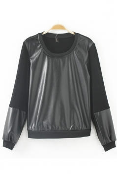 Black Pretty Womens Long Sleeves Patchwork Leather Plain Sweatshirt