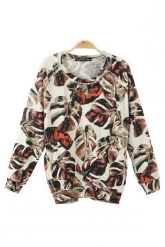 Multicolour Fabulous Womens Long Sleeves Leaves Printed Sweatshirt