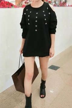 Sexy Ladies Cut Out Stars Loose Long Sleeves Plain Sweatshirt