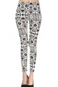 Black and White Fashion Womens Geometric Pattern Printed Leggings