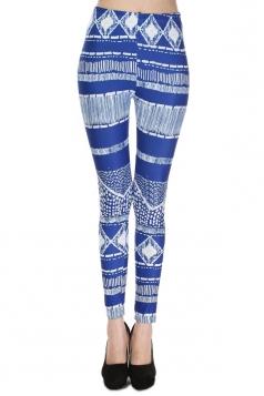 Blue Retro Womens Geometric Lines Skinny Striped Leggings