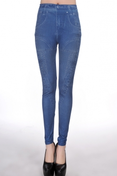 Blue Slimming Sexy Womens Irregularly Denim Leggings