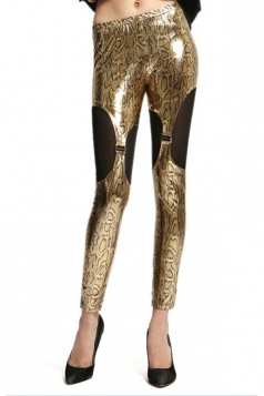 Gold Pretty Ladies Snake Printed Liquid Animal Print Leggings