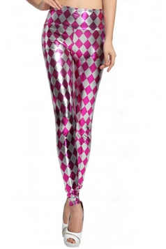 Chic Ladies Plaid Faux Leather Shaping Liquid Leggings