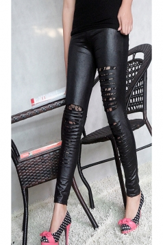 Black Fabulous Womens Faux Leather Slimming Ripped Leggings