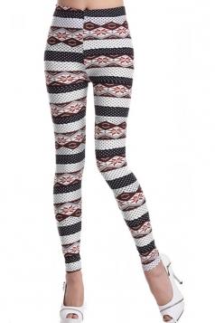 Multicolour Fashion Womens Argyle Pattern Slimming Striped Leggings