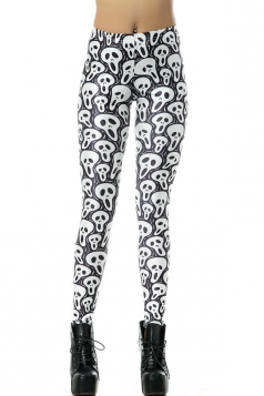 White and Black Cool Womens Fit Skeleton Leggings