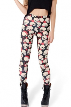 Red and Black Modern Ladies Stretch Skeleton Leggings