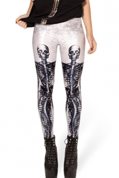 Black and White Sexy Ladies Skinny Fit Skeleton Leggings