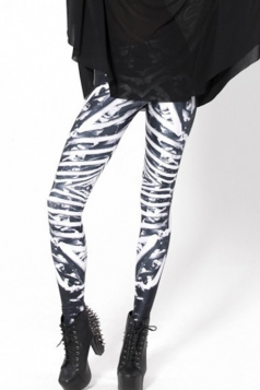 Black and White Fashion Womens Fit Skeleton Leggings