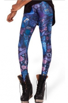 Blue Elegant Ladies Owl Printed Animal Print Leggings
