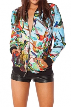 Multicolour Chic Womens Zipper Birds In Paradise Printed Jacket