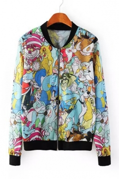 Multicolour Cute Womens Long Sleeves Cartoon Print Round Neck Jacket