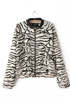 Black and White Cool Womens Long Sleeve Zebra Print Round Neck Jacket