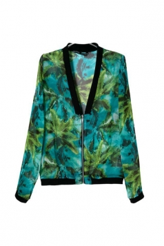 Green Stunning Ladies Long Sleeves Palm Trees Print V Neck Jacket