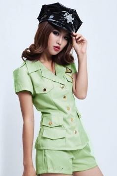 Green Sexy Womens Halloween Cop Costume