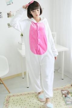 White Wicked Ladies Cartoon Bunny Pajamas Halloween Jumpsuit Costume