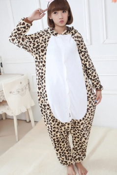 Khaki Girls Leopard Print Pajamas Halloween Bear Jumpsuit Costume