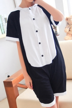 Black Pretty Ladies Pajamas Jumpsuit Halloween Panda Costume
