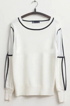 Comfortable Womens Knitted Cut Out Shoulder Elastic Sweatshirt
