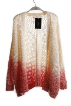 Ladies Sexy Color Block Modest Patterned Long Cardigan