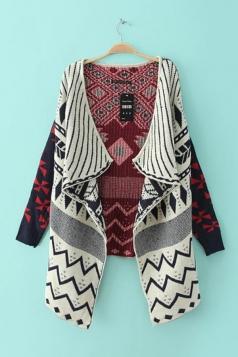 Beige Stylish Ladies Turndown Collar Geometrical Patterned Cardigan