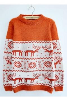 Trendy Womens Color Block Reindeer Pattern Christmas Sweater