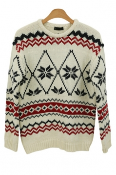 Long Sleeves Womens Snowflake Geometric Patterned  Christmas Sweater