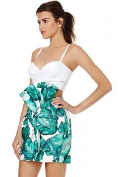 Green Sexy Ladies Pleated Banana leaf Printed Skirt