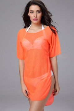 Pretty Ladies Sheer Crew Neck Slit Beach Dress