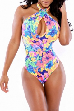 Multicolour Stylish Ladies Lace Up Bikini Top & Floral Bikini Bottom