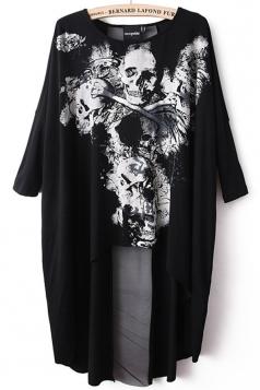 Black Ladies Unique Skull Printed High Low Loose T Shirt