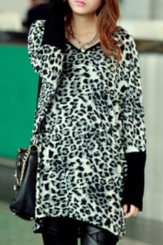 Gray Leopard Loose Ladies V Neck Batwing Sleeves T-shirt