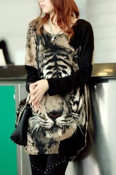 Black Long Sleeves Tiger Printed Cool Womens T Shirt