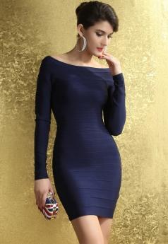 Royalblue Off-the-shoulder Long Sleeves Bandage Dress