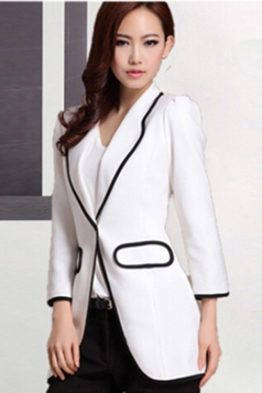White Elegant Tailored Collar Long Sleeves Slim Ladies Blazer