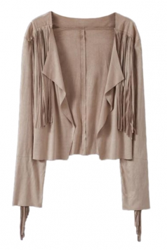 Khaki Ladies Irregularly Fringes Long Sleeves Cardigan Blazer