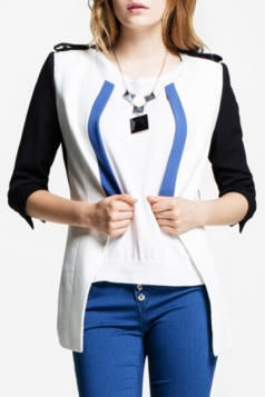 White Cool Ladies Slim Color Block Three Quarter Sleeves Blazer