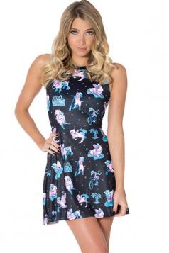 Black Cool Womens Rabbit Cat Printed Ruffle Strap Skater Dress