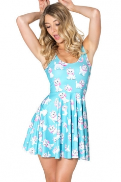 Blue Cute Ladies Marie Cat Printed Crew Neck Pleated Skater Dress