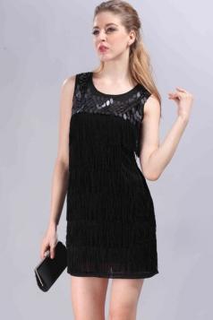 Black Tassel Ladies Sequins Sleeveless Fashion Tank Dress